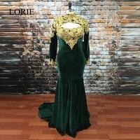 אמרלד גרין נשף שמלות 2017 בת ים שרוול ארוך ערב dress vestido de noche שמלות גבוה צוואר תחרת המפלגה אפליקציות זהב