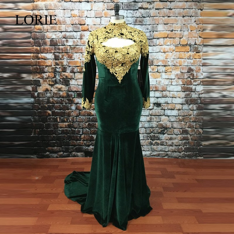 Emerald Green Prom Dresses 2017 Mermaid Long Sleeve Evening Dress Vestido de noche High Neck Gold Lace Appliques Party Gowns