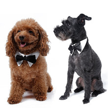Adjustable Pet Dog Cat Collar Bow Tie Decor Handsome A Gentleman-Shaped Puppy Necktie Festival Grooming Accessories