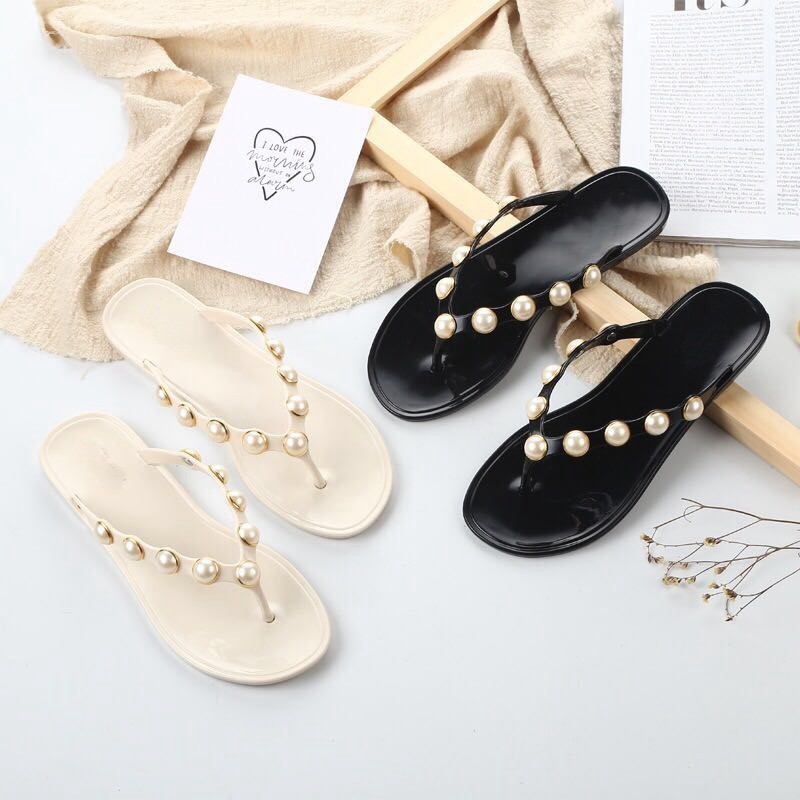 Bailehou Women Slippers Summer Beach Slippers Flip Flops Sandals Women Pearl Fashion Slippers Ladies Flats Shoes Free shipping bees slippers women g designer flats sandals bees logo fashion women beach summer slippers flip flops