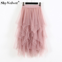 087f262127 Irregular Long Tulle Skirt Woman 2019 Spring New High Low A-line Layered  Pleated Mesh