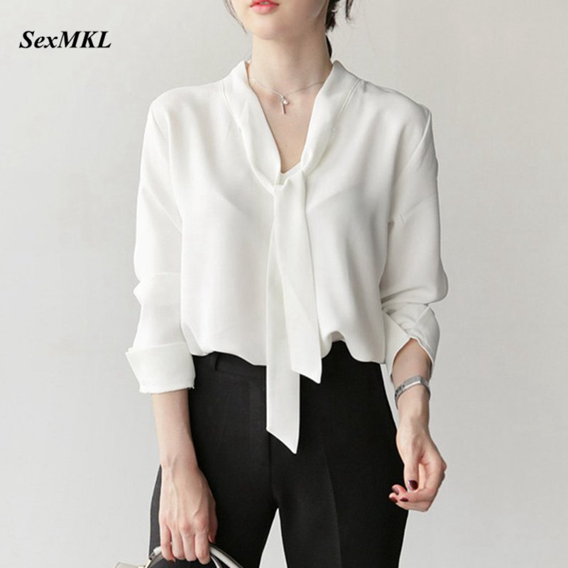 SEXMKL Women White Chiffon Blouse 2019 Spring Autumn Long Sleeve Blouses Korean Sexy Office Ladies Tops Streetwear Shirt Blusas