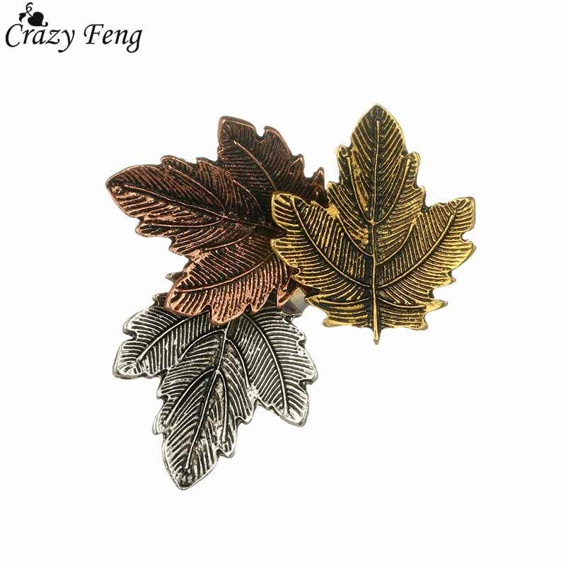 Crazy Feng Vintage Broach Accessory 3PCS Maple Leaf Metal Brooch Pin Jeans Clothes Badge Fashion Jewelry Wholesale For Women