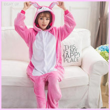 EIGHT UP Brand Unisex  Cartoon Animal Stereo Pink/Blue Rabbit Serial Pajamas Flannel Cosplay Costume Onesie Clothes.