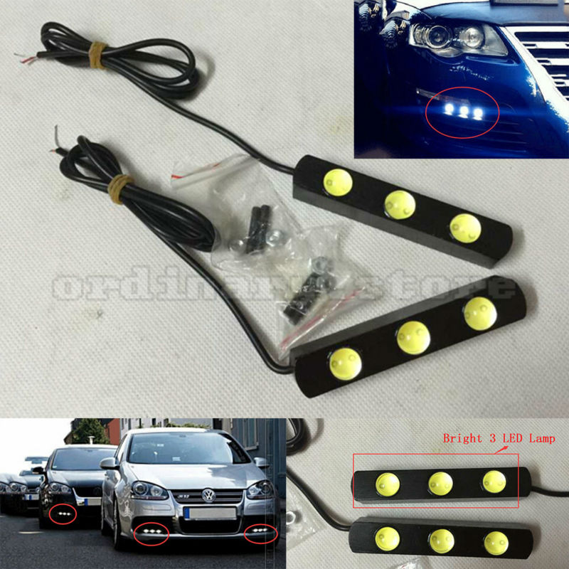 1 Pair Metal Shell Eagle Eye Hawkeye 3 LED Car White DRL Daytime Running Light Driving Fog Daylight Day Safety Lamp Waterproof high power daytime running driving light eagle eye drl car lamps condenser lens for auto car white drl eagle eye 10w led lens