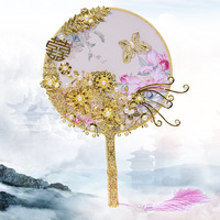 Traditional Wedding Bridal Fan Golden Flowers Bride Bouquets Pearls Metal Chinese Style Wedding Bouquet Brooches Fans