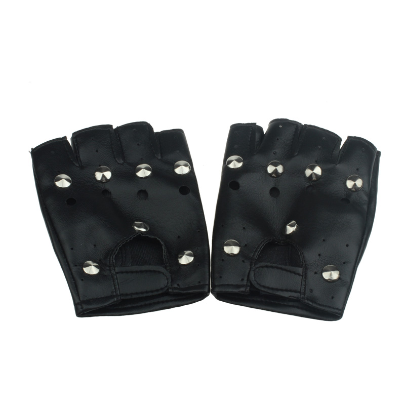 KLV  Black Gloves Popular Theatrical Punk Hip-hop PU Half-finger Leather Gloves Round Nail New Fashion Design High Quality Z0927