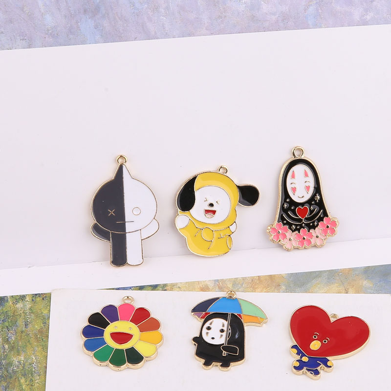 10pcs Flower Heart Black White Cartoon Ghost Enamel Alloy Charms Halloween Decor Pendants Charms DIY Jewelry Accessory FX465 in Charms from Jewelry Accessories
