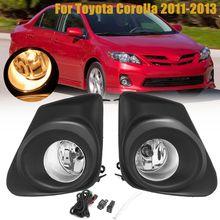 2 шт. передний бампер автомобиля Туман свет лампы с H11 выключатель лампы + 2 шт. решетка крышки желтый лампа для Toyota Corolla 2011 2012 2013