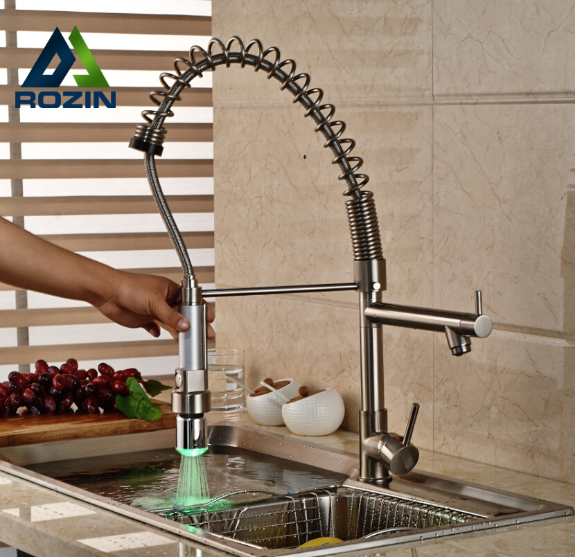 LED Color Changing Tall Kitchen Sink Faucet Dual Sprayer Pull Down Spring Kitchen Mixer Taps Brushed Nickel Finish цена 2017