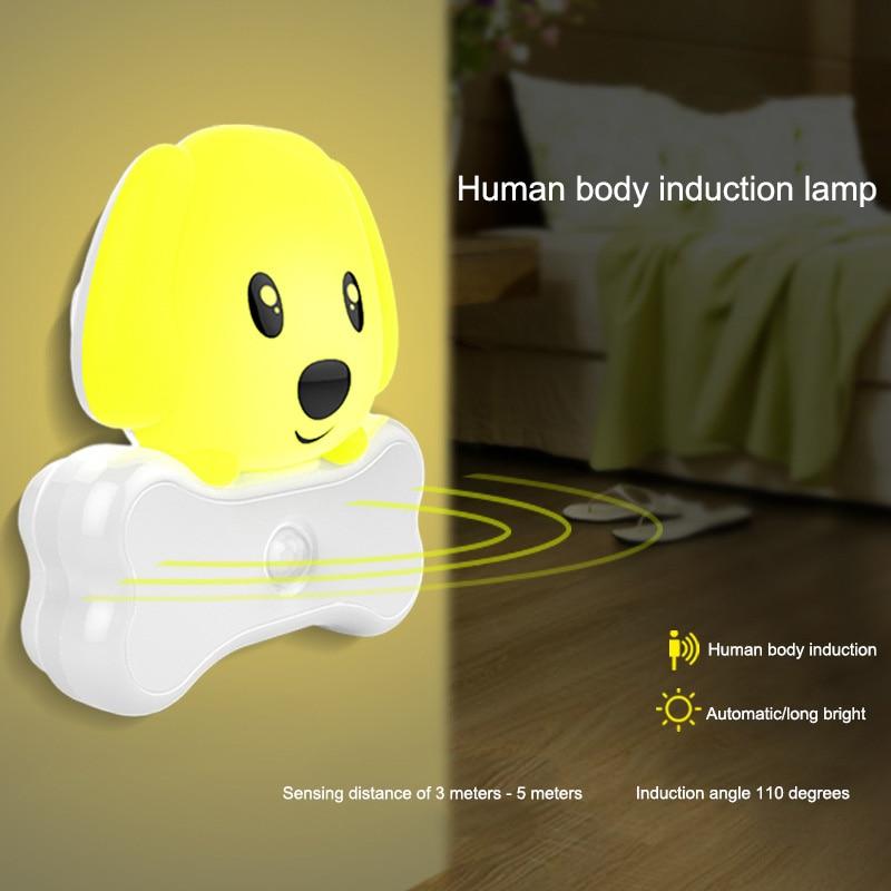 Amiable Led Motion Sensor Night Light Dog Shape Usb Plug Activated Nightlight For Bedroom Office Ali88 Lights & Lighting