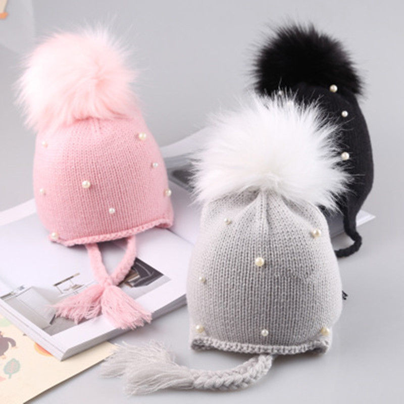 2018 arrival cute kid babies Beanies caps Child Crochet Winter Warm Knit Hats Cap Baby Boy Girls beading Hair Ball Earbud Hat