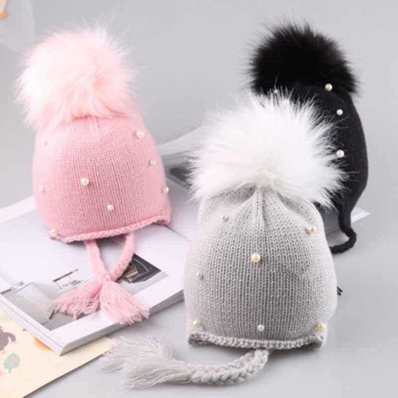 758f7e175 2018 arrival cute kid babies Beanies caps Child Crochet Winter Warm Knit  Hats Cap Baby Boy Girls beading Hair Ball Earbud Hat