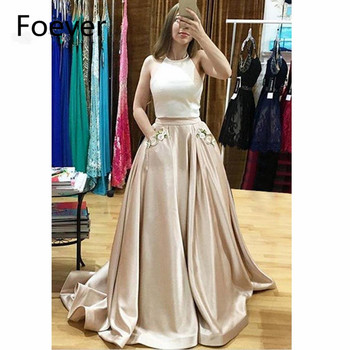 Two Pieces Gown 2019 Evening Dresses Long with Pockets Crystals Satin Sleeveless Satin Formal Evening Party Dress