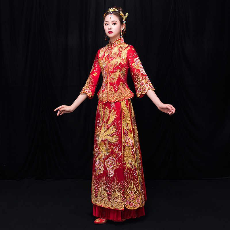 ארוך שרוול סיני מסורתי חתונה שמלת נשים פניקס רקמת Cheongsam אדום Qipao ערב שמלת סין הכלה מסורות