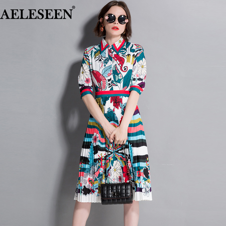 AELESEEN OL Summer Dress Women 2018 Summer Half Sleeve Contrast Color Pleated Lapel Vintage Leave Print Dress Fashion contrast mesh box pleated plain dress