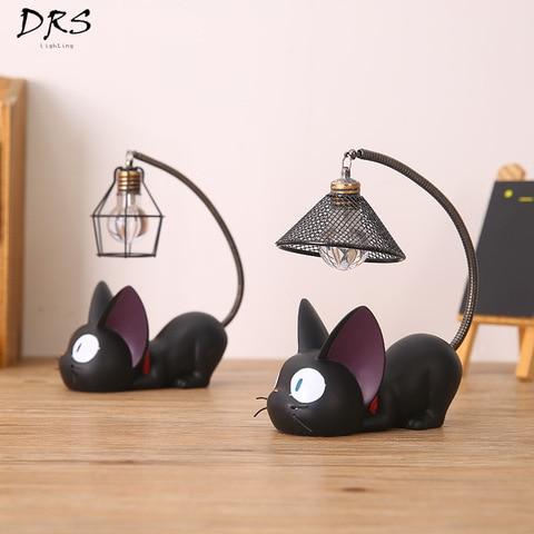 criativo resina artesanato lampada de mesa magica gigi gato nightlight apresenta luzes da tabela de