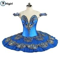 Blue Professional Girls Gymnastic Dancing Higirl Swan Lake Costume Ballet Tutu Leotards For adult Women BT9159