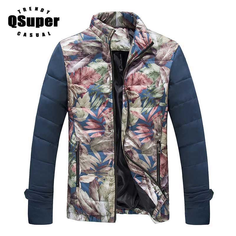 QSuper New Flower Men Down Jacket Coat Winter Warm Thick Slim Fit Stand Collar Men Parkas Casual Outwear Brand Clothing Plus 5XL free shipping winter parkas men jacket new 2017 thick warm loose brand original male plus size m 5xl coats 80hfx