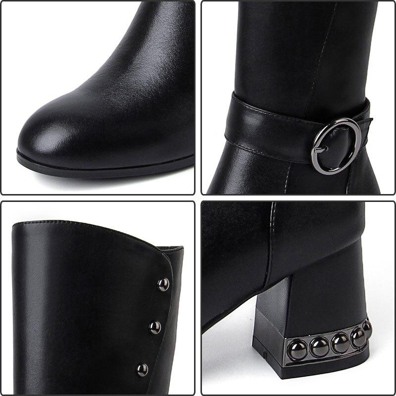 Zip En Noir Talon À Genou Moto Mode Black Chaussures Confort Véritable Femmes Ceinture Bottes Du Hauteur Cuir Boucle Fanyuan Haute Rivet qg0xzgP