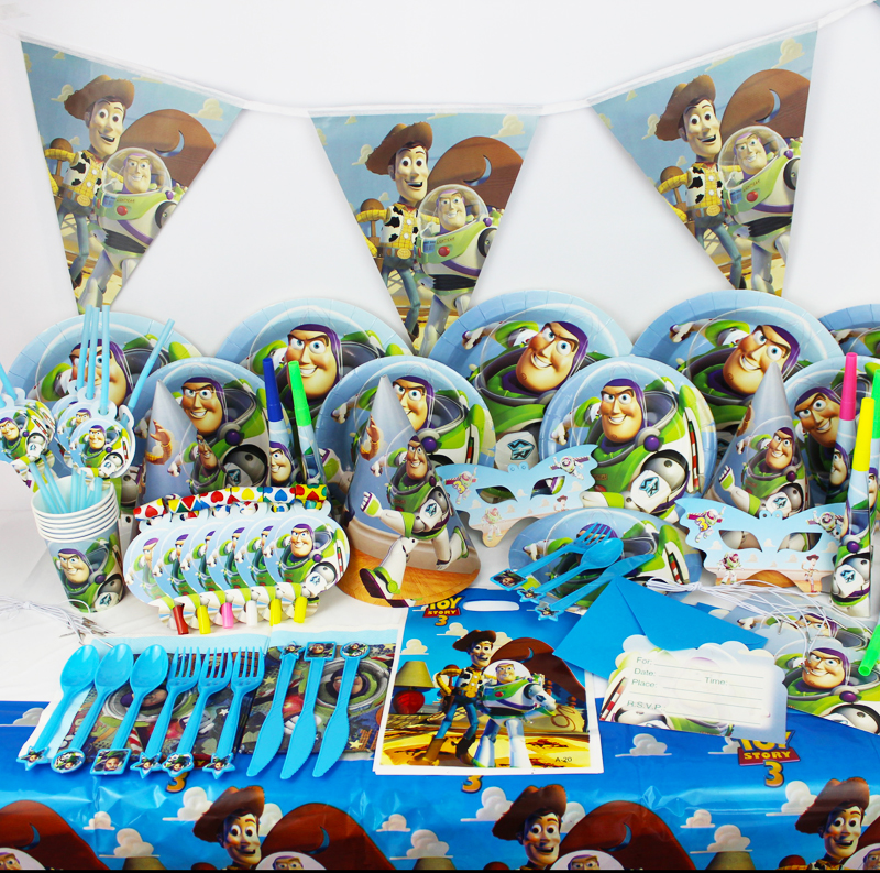 2017 best selling 78pcs toy story cartoon theme birthday for Baby shower decoration set