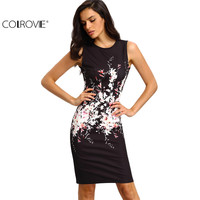 COLROVE 2016 New Summer Style Bodycon Dresses Vintage Ladies Sexy Fitness Black Floral Print Sleeveless Crew