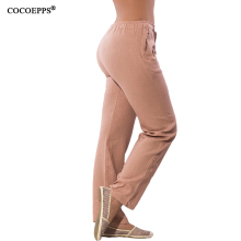 Women Casual Chiffon Pants Big Size Female Trousers Drawstring Elastic Waist Pockets Pants