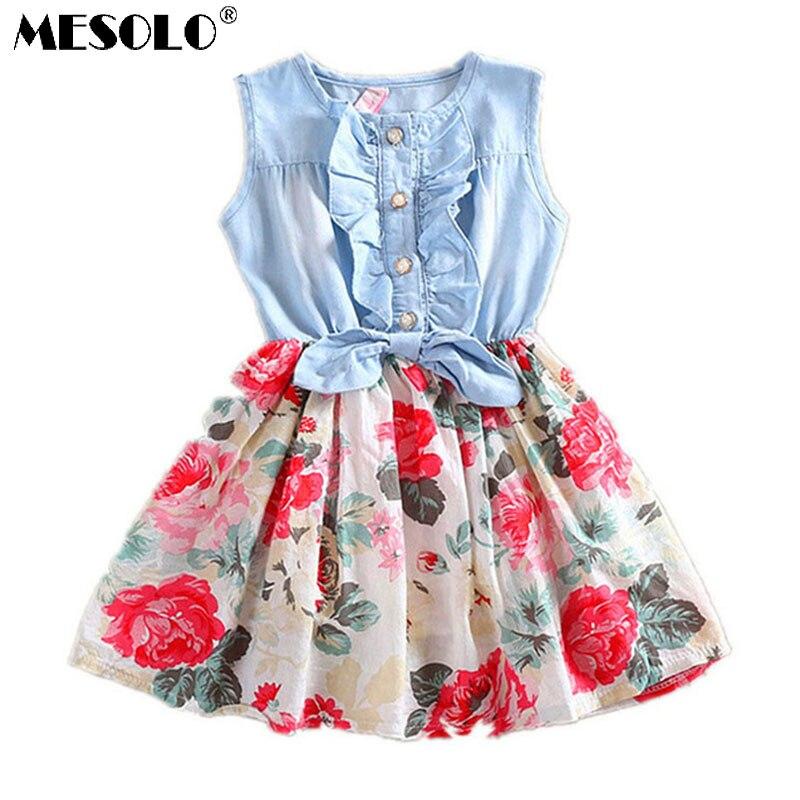 MESOLO NOVINKA NEJNIŽŠÍ CENA Krásné horké děti Dívky Jean Denim Bow Flower Rozcuchané šaty Sundress Oblečení Kostým