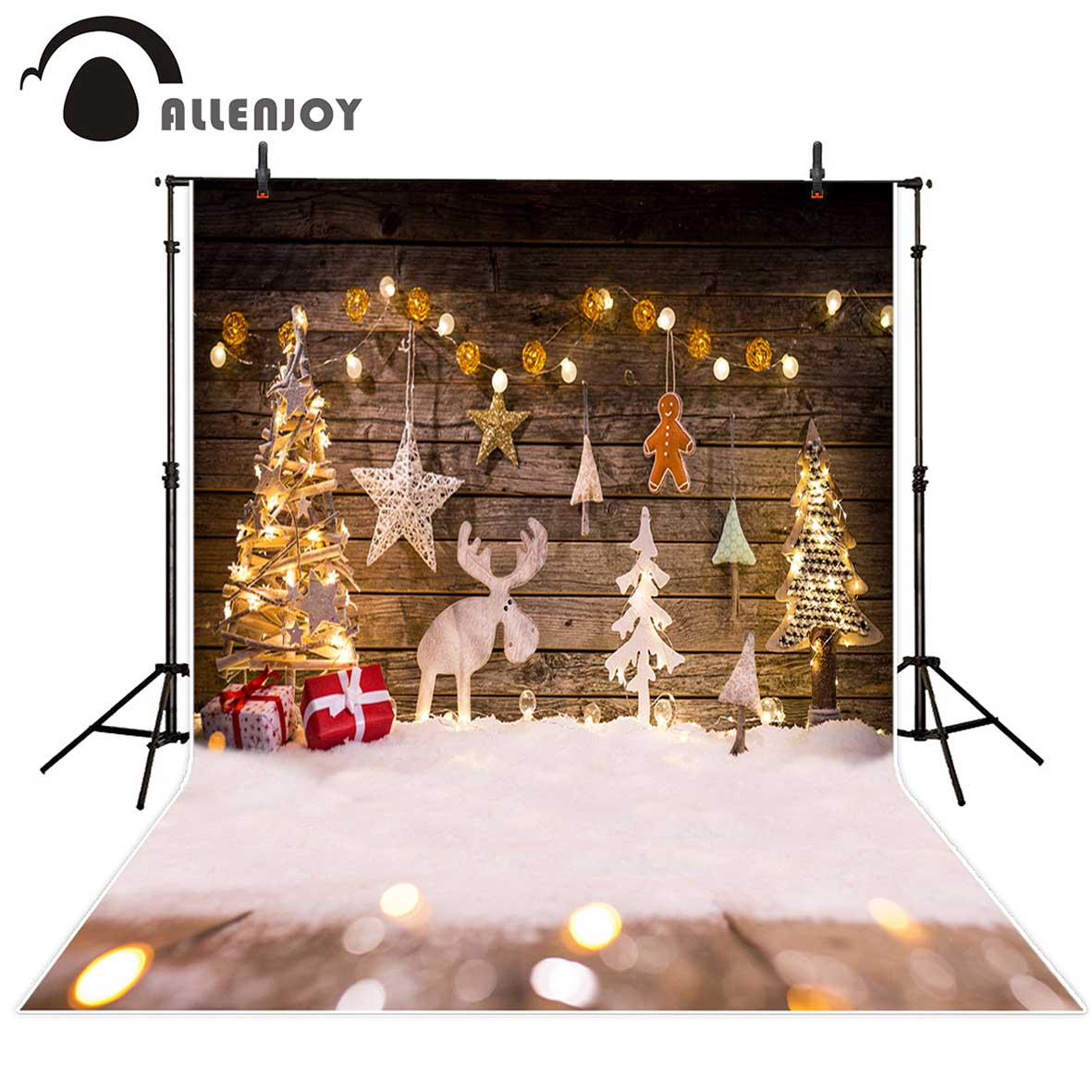 Allenjoy background for photo Christmas shiny tree snow kids wood wall backdrop photocall photobooth photo studio professional