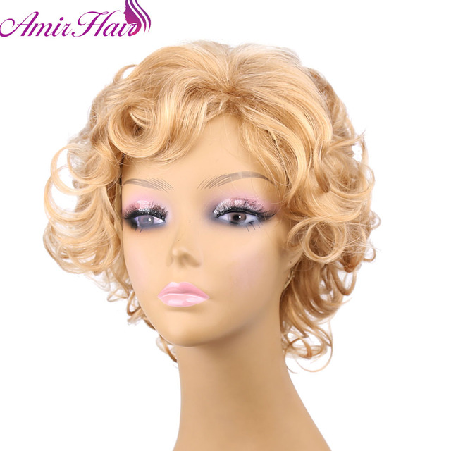 Amir Hair synthetic wigs blonde Fluffy short wig blonde Synthetic Curly Short hair Wig many colors for choose free shipping