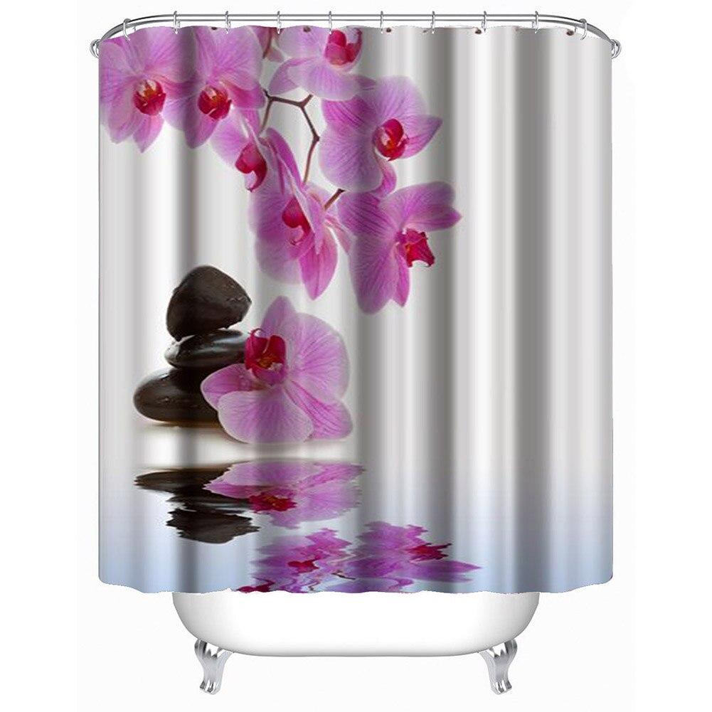 Flower Waterproof Shower Curtain Polyester Fabric Bath