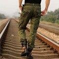 2017 армия случайный Мужчина несколько карман оснастки брюки случайные свободные комбинезоны осень-весна 100% чистого хлопка мужские брюки