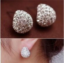 Vintage Full Crystal Crescent Stud Earring