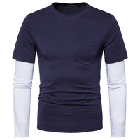 Mens tops Brand hip hop Casual T-Shirts 2017 style autumn Men O-neck cotton Fashion 2 color patchwork T-shirt clothes size S-XXL