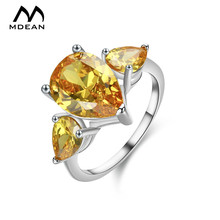 MDEAN White Gold Color Wedding Rings for Women Engagement Ring Yellow AAA Zircon Jewelry Fashion Bague Size 6 7 8 9 10 H001