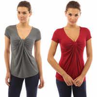 Women Summer T-Shirt Fashion Solid Color V-Neck Short Sleeve Top Tied Knot Design Female Slim Fit T-Shirt