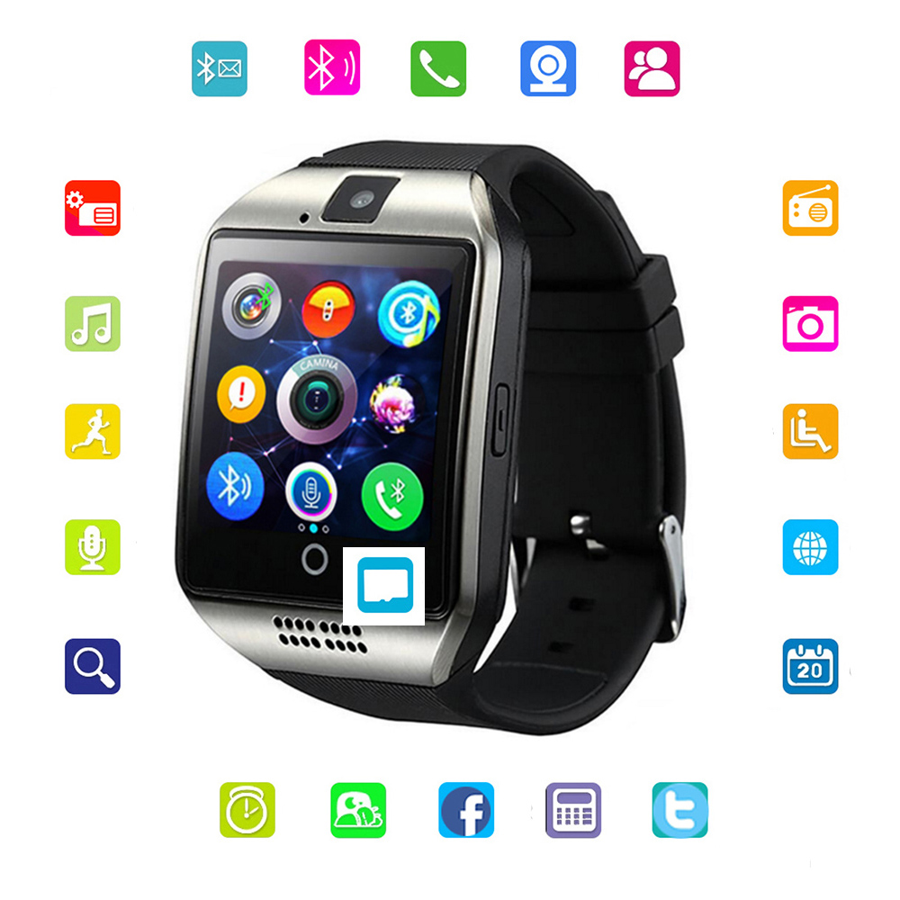 Men Bluetooth Smart Watch Q18 Sync SMS With Camera Touch Screen Big Battery Support Sim&TF Card Slot For IOS Android