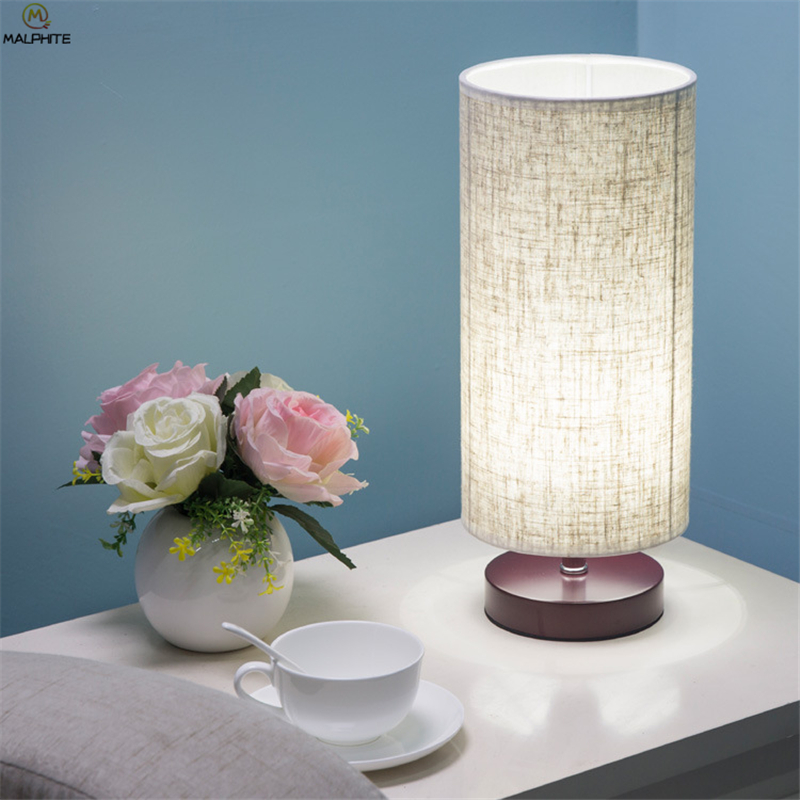 Nordic solid wood table lamp modern minimalist Fabric Cylindrical lamps table Bedroom bedside living room LED lighting Fixtures in LED Table Lamps from Lights Lighting