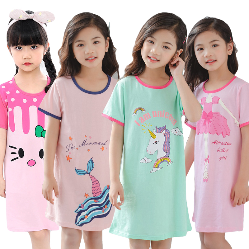 Unicorn Cotton Nightdress Little Teen Girl Pajamas Dresses Children Cartoon Summer Nightgown Home Clothes Kids Sleepwear Gecelik