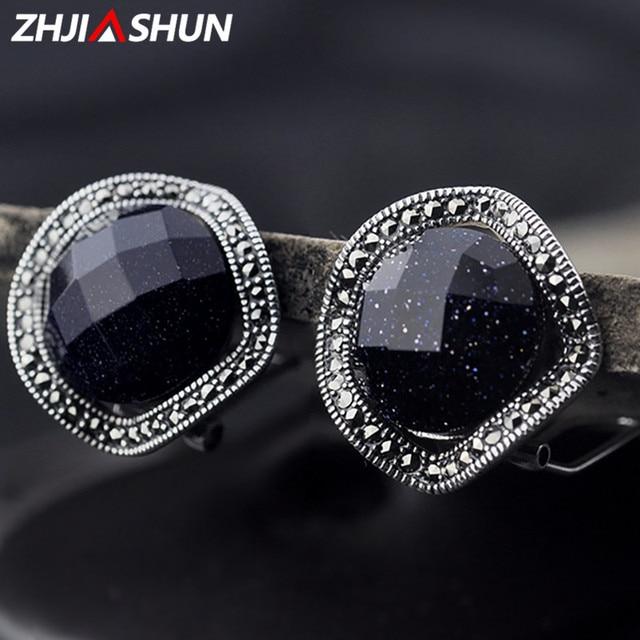 ZHJIASHUN 100% リアルスターリングシルバー石イヤリング白鉄鉱女性女性周年記念ギフト