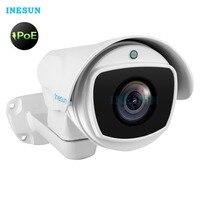 Inesun Открытый PoE IP PTZ Камера 2MP/5MP Super HD 2592x1944 панорамирования/наклона 10x Оптический зум Водонепроницаемый 100 м ИК Ночное видение Пуля Cam