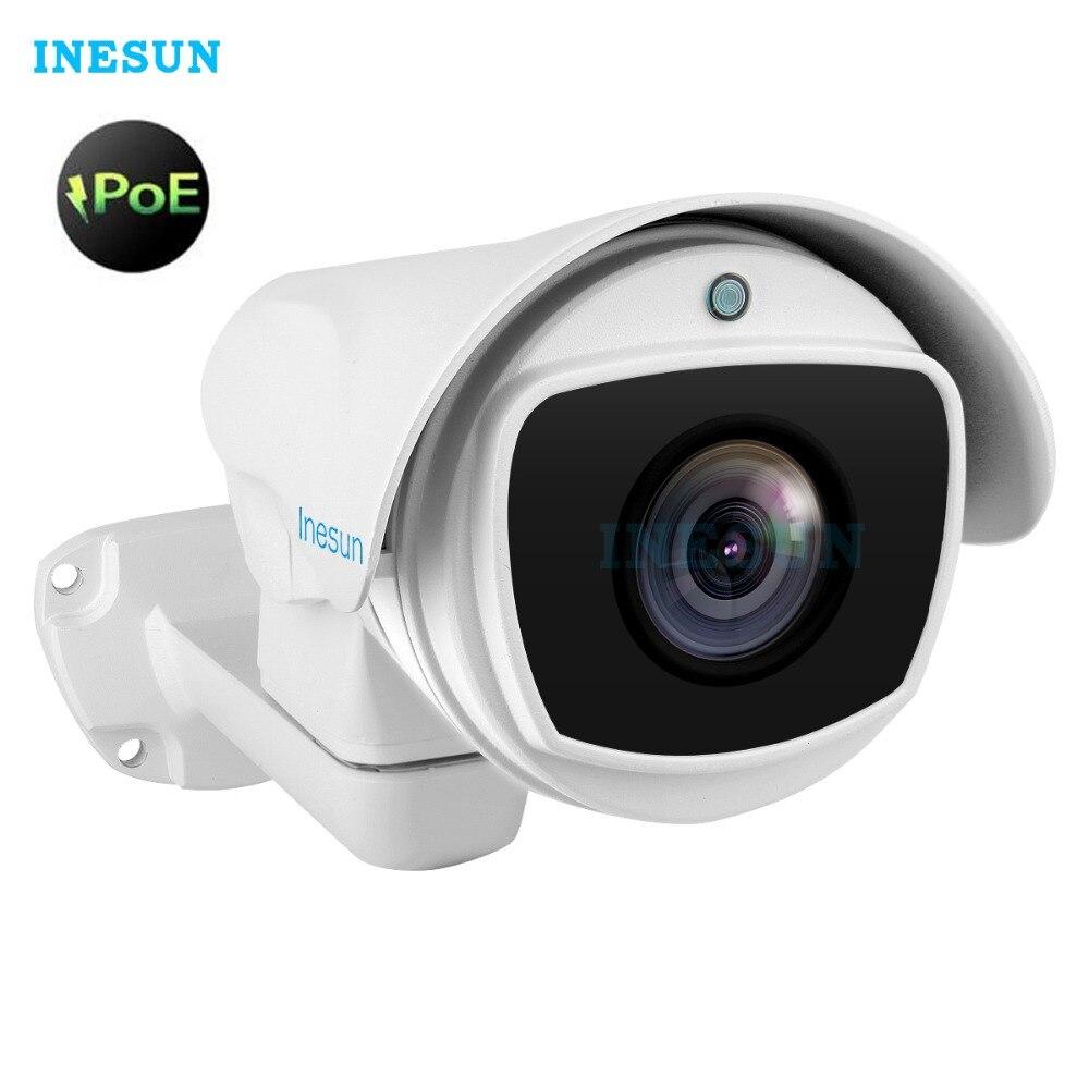 Inesun Outdoor PoE IP PTZ Cámara 2MP/5MP Super HD 1944x100 Pan/Tilt 10x Zoom óptico impermeable 2592 M IR visión nocturna Bullet Cam