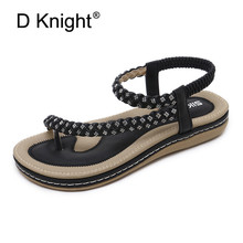 2019 New Summer Shoes Women Bohemia Ethnic Flip Flops Soft Flat Sandals Woman Casual Comfortable BigSize Platform 35-42