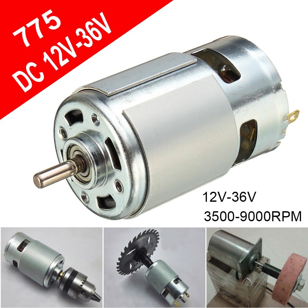 775 DC 12V-36V 3500-9000RPM Motor Ball Bearing Large Torque High Power Low Noise DC Motor Accessories Electrical Supply цена