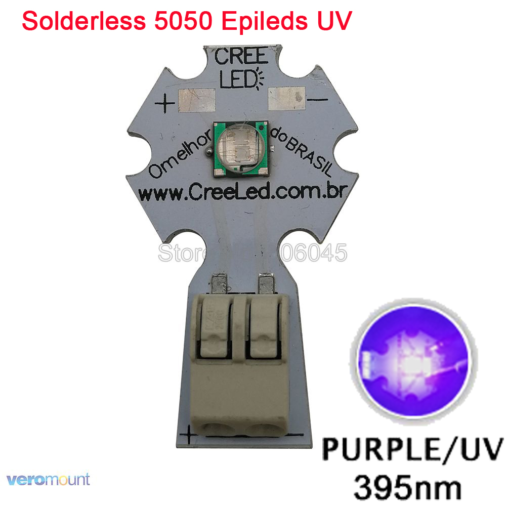 Epileds 5050 5W UV Purple 395NM - <font><b>400NM</b></font> High Power <font><b>LED</b></font> Emitter Bead Light 3.4-3.8V 1200mA on 20mm Solderless Aluminum PCB Board image