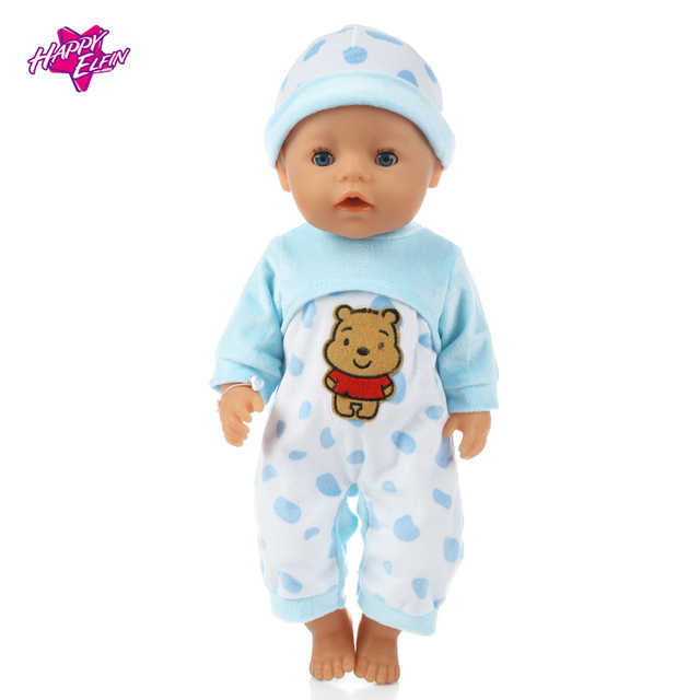 Handmade Baby Born Zapf Blue Points Pajamas Suit Doll Clothes Fit 43cm Baby Born Baby Birthday Gift Doll Accessories