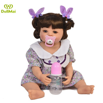 "23""57cm Full Silicone Body Vinyl Reborn Girl Lifelike Baby Doll Newborn Princess Toddler Toy Bonecas bathe bebe Birthday Gift"