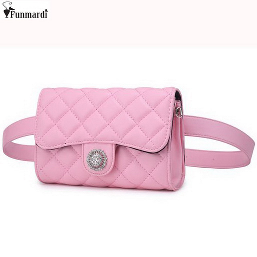 FUNMARDI Classic Star Style Trendy Waist Packs European And American Style Bags Luxury Leather Belt Wallets Women Bags WLAM0112