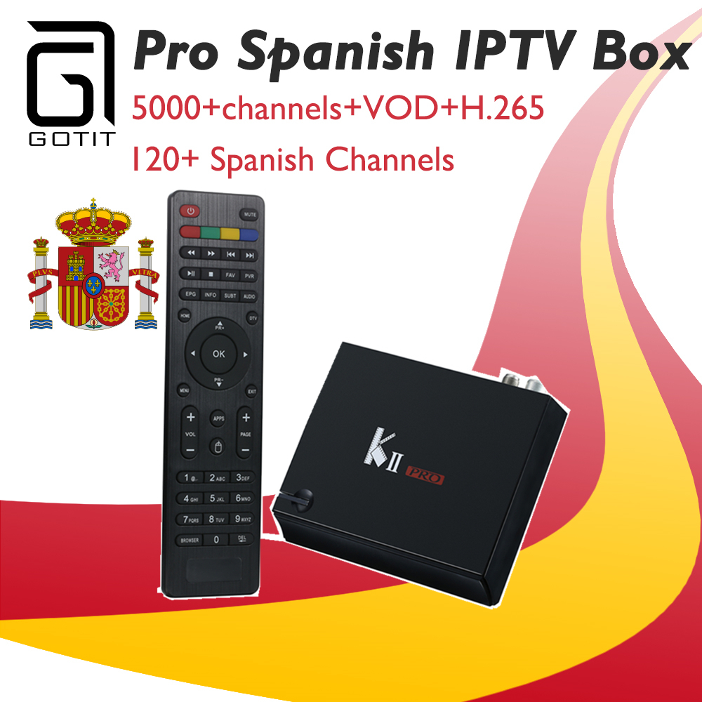 GOTiT K2 Pro Spain tv box Android &r K2 DVB-S2 DVB-T2 Satellite receive +Pro IPTV H.265 4K UHD Israel Europe Germany USA party city forgotten toys