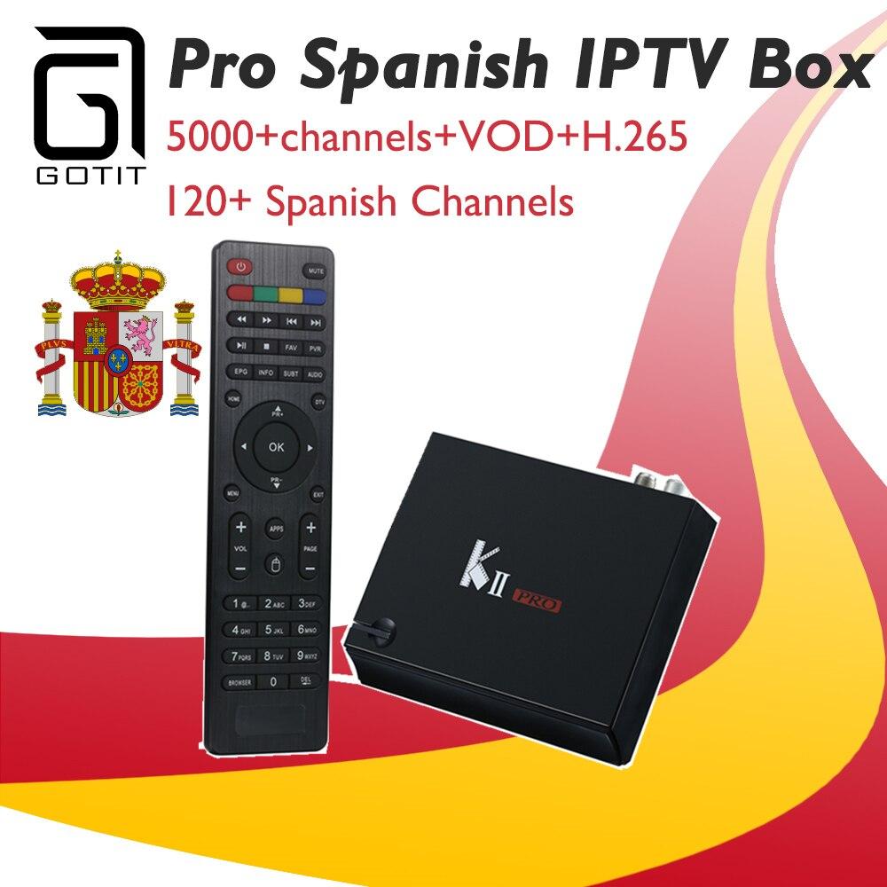 GOTiT K2 Pro Испания Android tv box & r K2 DVB S2 DVB T2 спутникового получать + Pro IP ТВ H.265 4 К UHD Израиль Европа Германия США